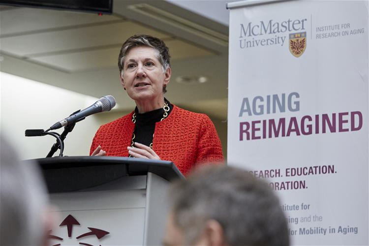 McMaster Chancellor Suzanne Labarge speaking at podium